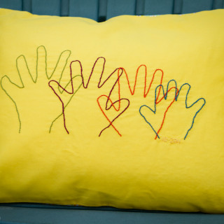 Embroidered Handprint Pillow