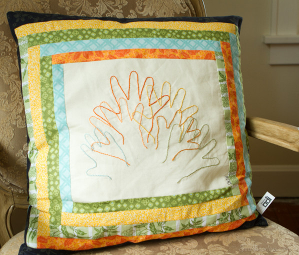 Grandchildren embroidered hand print Pillow