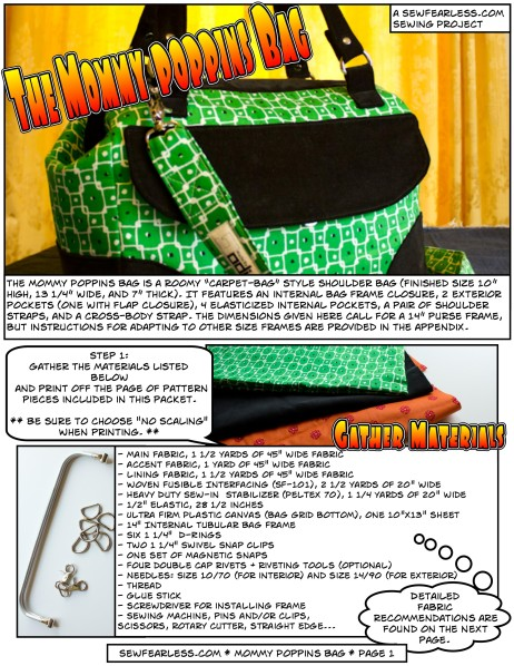 Mommy Poppins Bag Pattern - Sample Page - Sewfearless.com