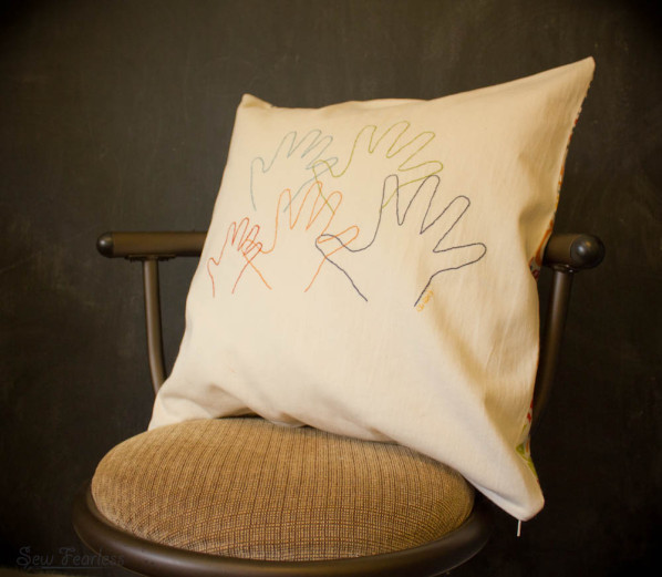 embroidered handprint pillow - sewfearless.com