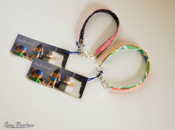 Fabric Bracelets sewn by Sew Fearless.com, with mini moo tags