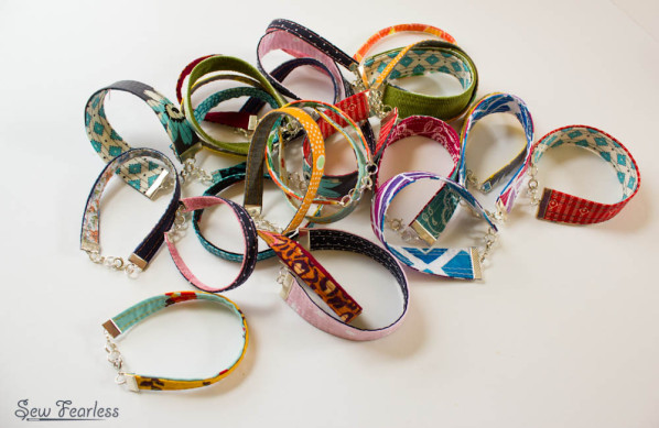 fabric bracelets made by SewFearless.com