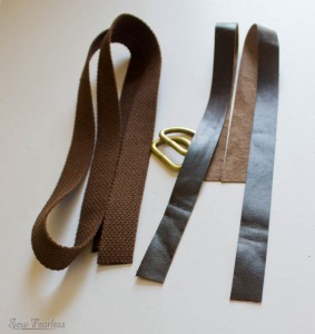Making a reversible leather and cotton belting bag handle - sewfearless.com
