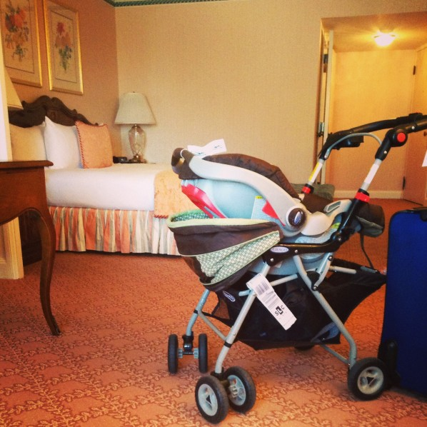 carseat in the hotel room