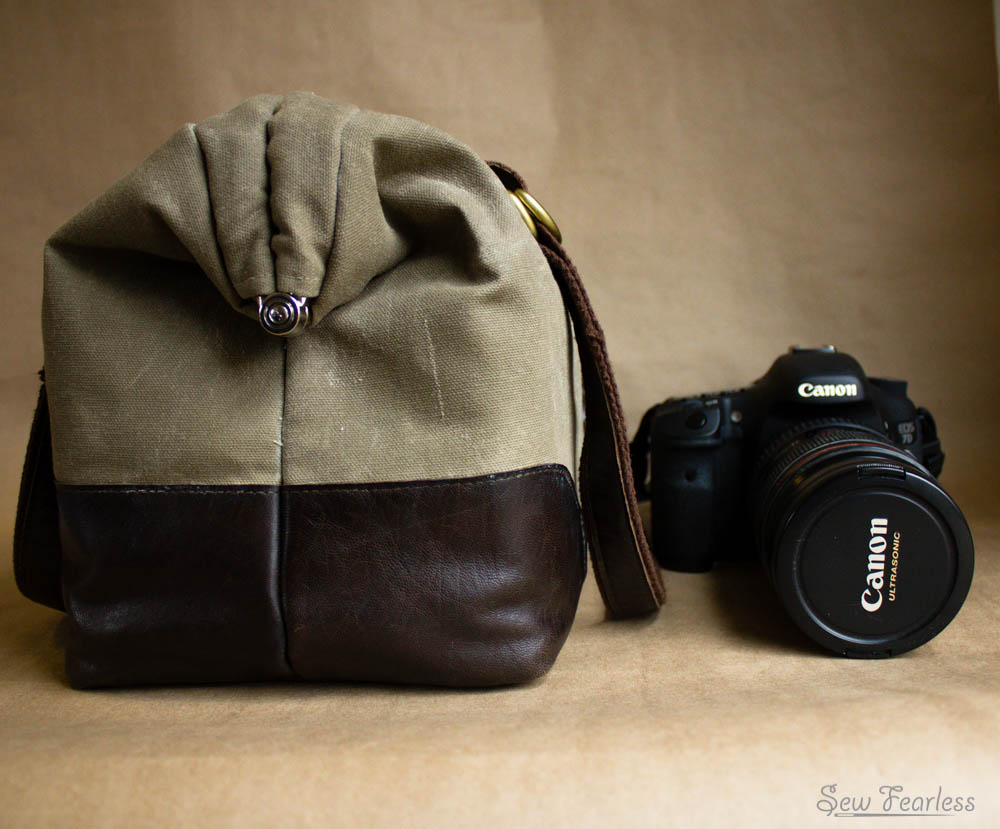 "Waxed Canvas and Leather ""Manly Poppins"" Camera Bag - using the SewFearless.com Mommy Poppins Bag pattern"