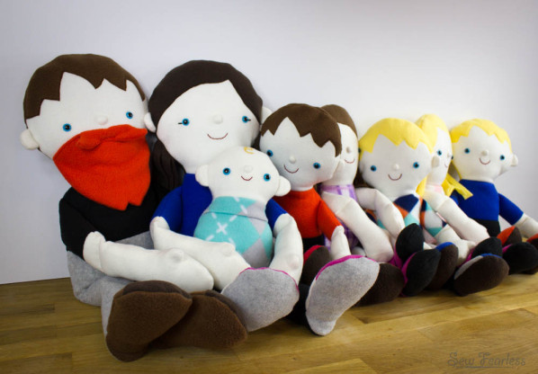 A Family of Fleece Dolls, design by Abby Glassenberg, sewn by SewFearless.com