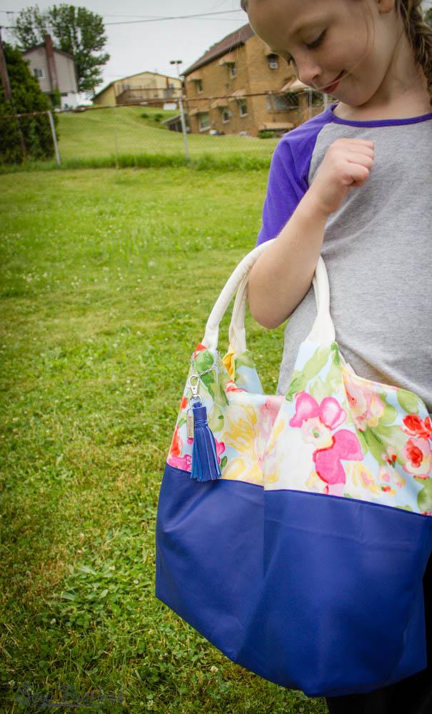 Better-Than-Basic Bag, with cobalt blue sheepskin leather
