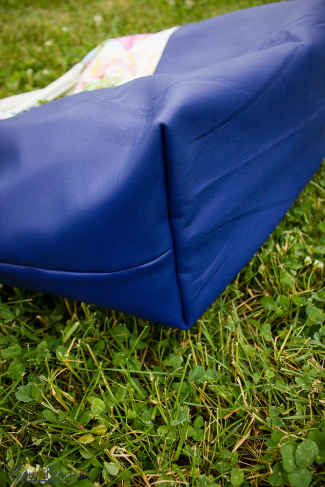 Better-Than-Basic Bag, with cobalt blue sheepskin leather