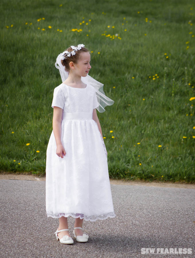 taffeta and lace first communion dress vogue