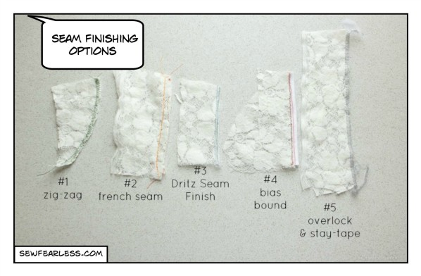 Stretch Lace Seam Finish Options - sewfearless.com