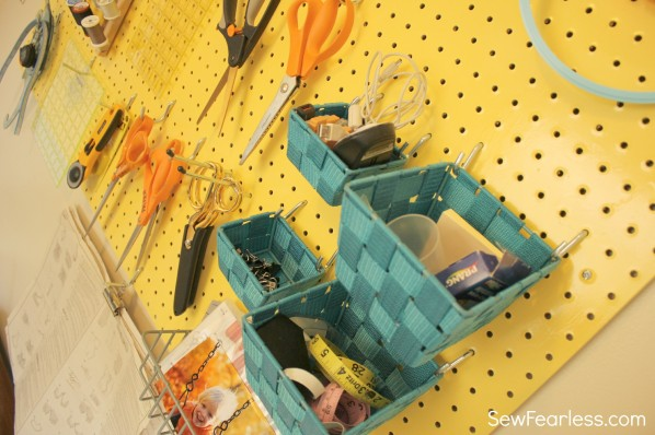 sewing tools on a pegboard - SewFearless.com