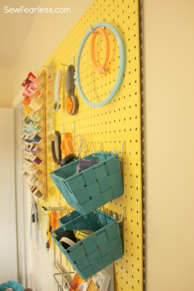use spacers to hold pegboard out from the wall - sewfearless.com