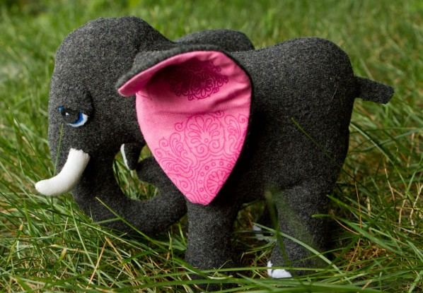 "Elephant from ""Stuffed Animals"" by Abby Glassenberg, sewn by SewFearless.com"