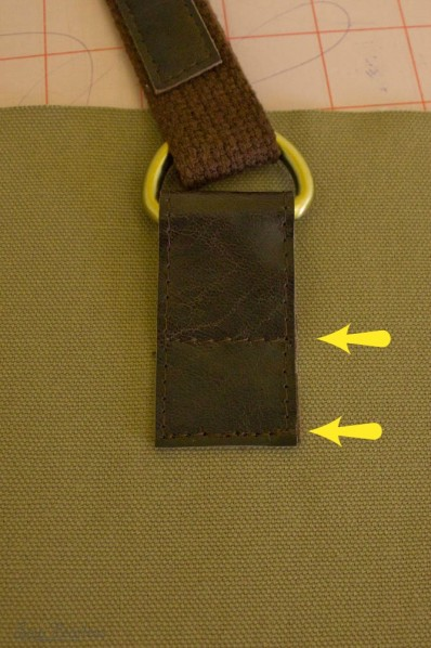 Making a leather tab to attach bag handle - sewfearless.com