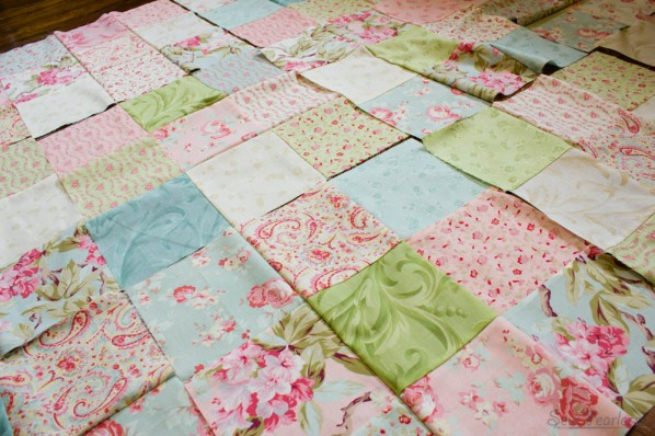 Rose Quilt In Progress - 9 Patches for Disappearing 9 Patch Quilt - sewfearless.com