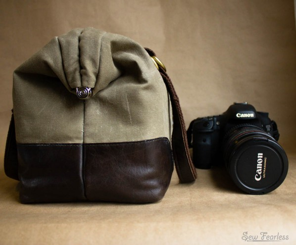 """Waxed Canvas and Leather """"Manly Poppins"""" Camera Bag - using the SewFearless.com Mommy Poppins Bag pattern"""