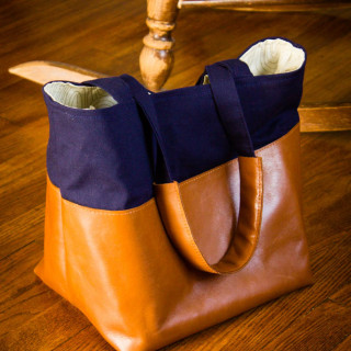 Leather Colorblocked Tote (+Giveaway!)