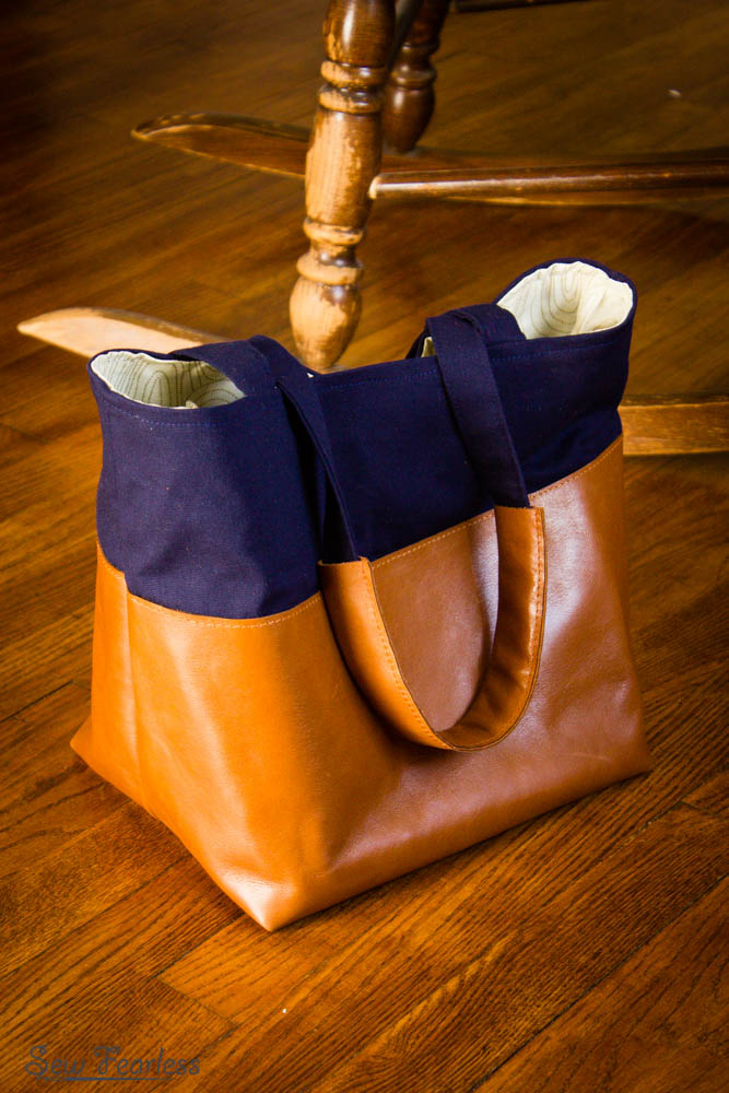 Leather color-blocked divided tote, knitting bag friendly - designed by sewfearless.com