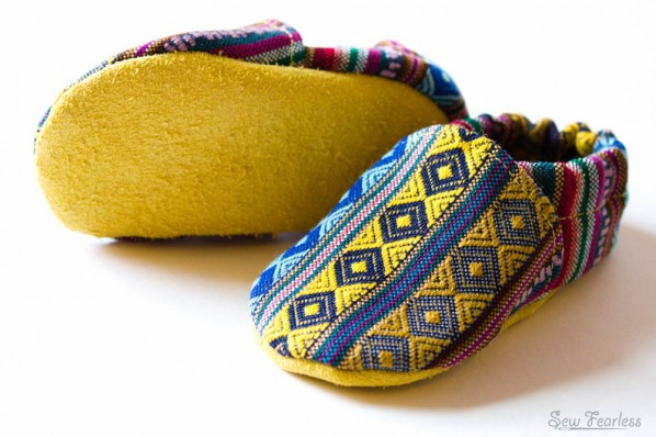 peruvian woven and leather baby shoes - sew fearless.com