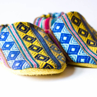 Peruvian Woven and Leather Baby Booties