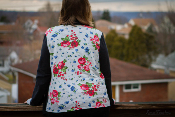 Floral Backed French Terry Drape Cardigan