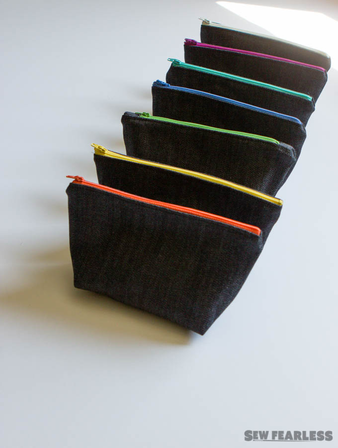 Denim Zipper Pouch with colorful zippers
